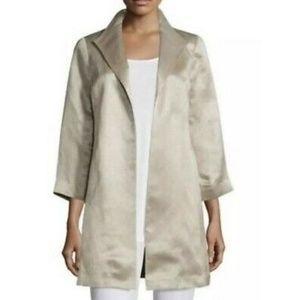 Eileen Fisher Gold Metallic Silk Open Front Blazer